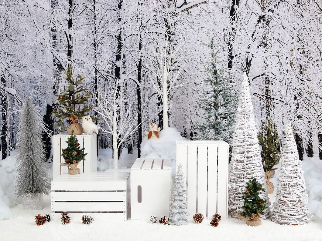 Kate Christmas Snowy Pine Trees with Decorations Backdrop