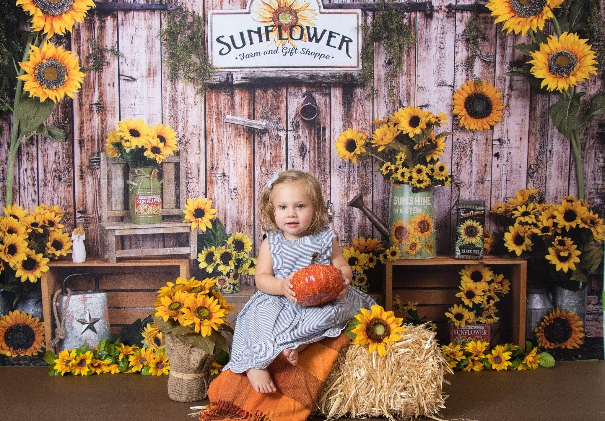 Load image into Gallery viewer, Kate Sunflower Gift Shop Wood Fall Backdrop