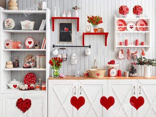 Kate Valentine¡®s Day Love Bake Kitchen Backdrop for Photography