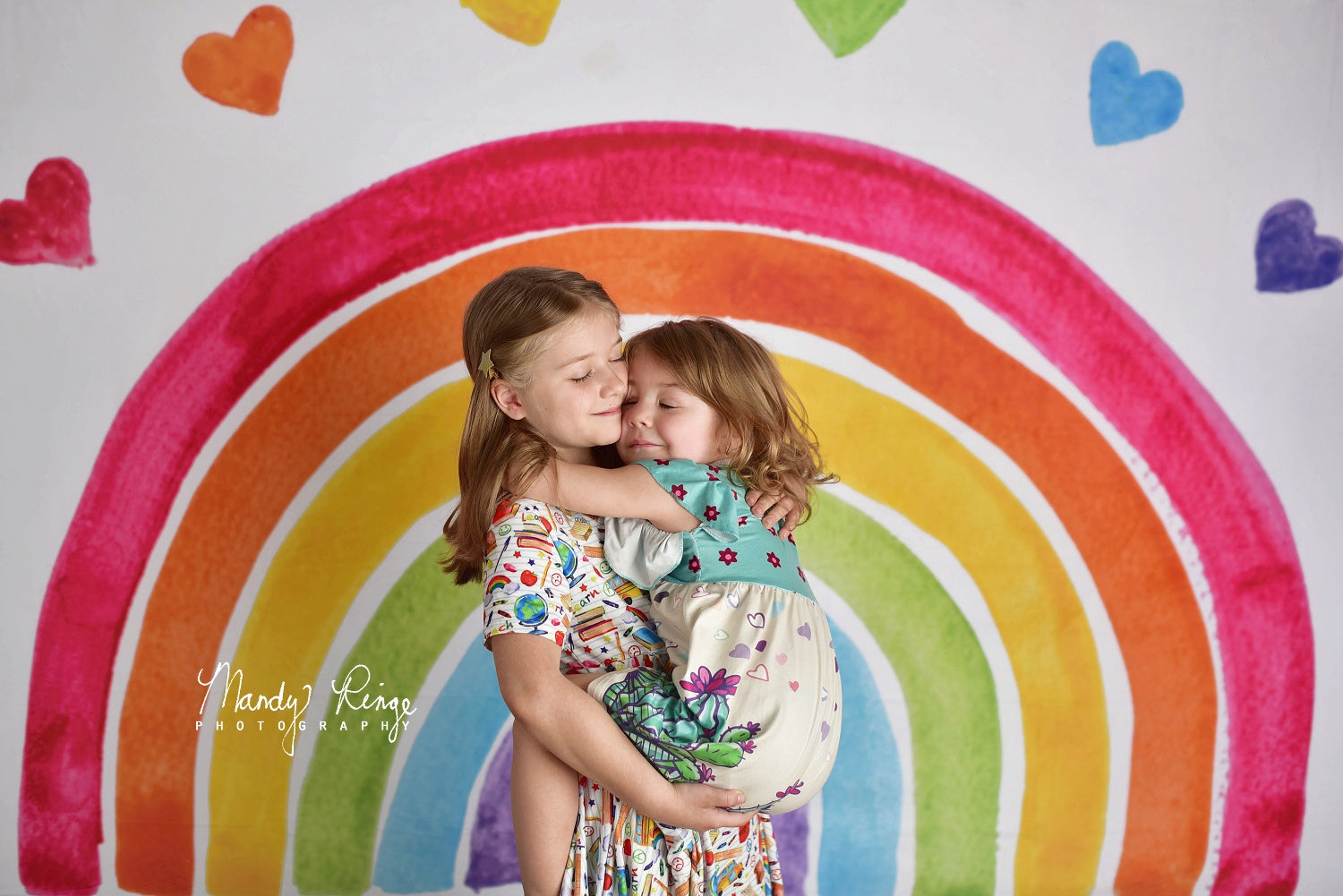 Load image into Gallery viewer, Kate Watercolor Rainbow Backdrop Designed by Mandy Ringe Photography