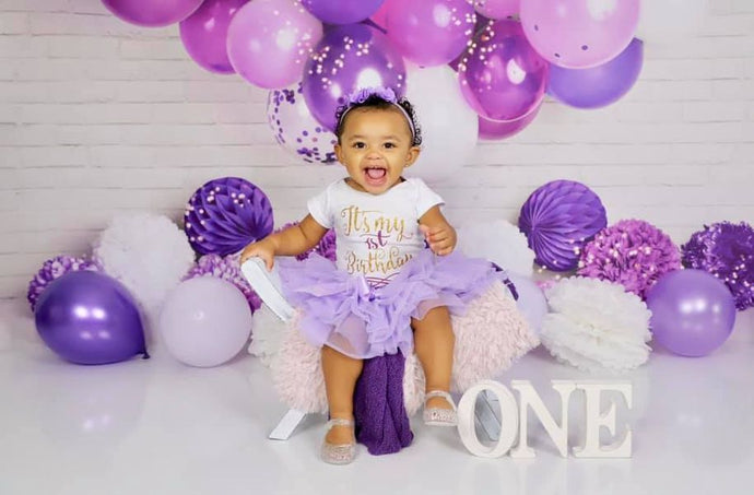 Kate Purple Birthday Balloon Garland Backdrop Designed by Mandy Ringe Photography