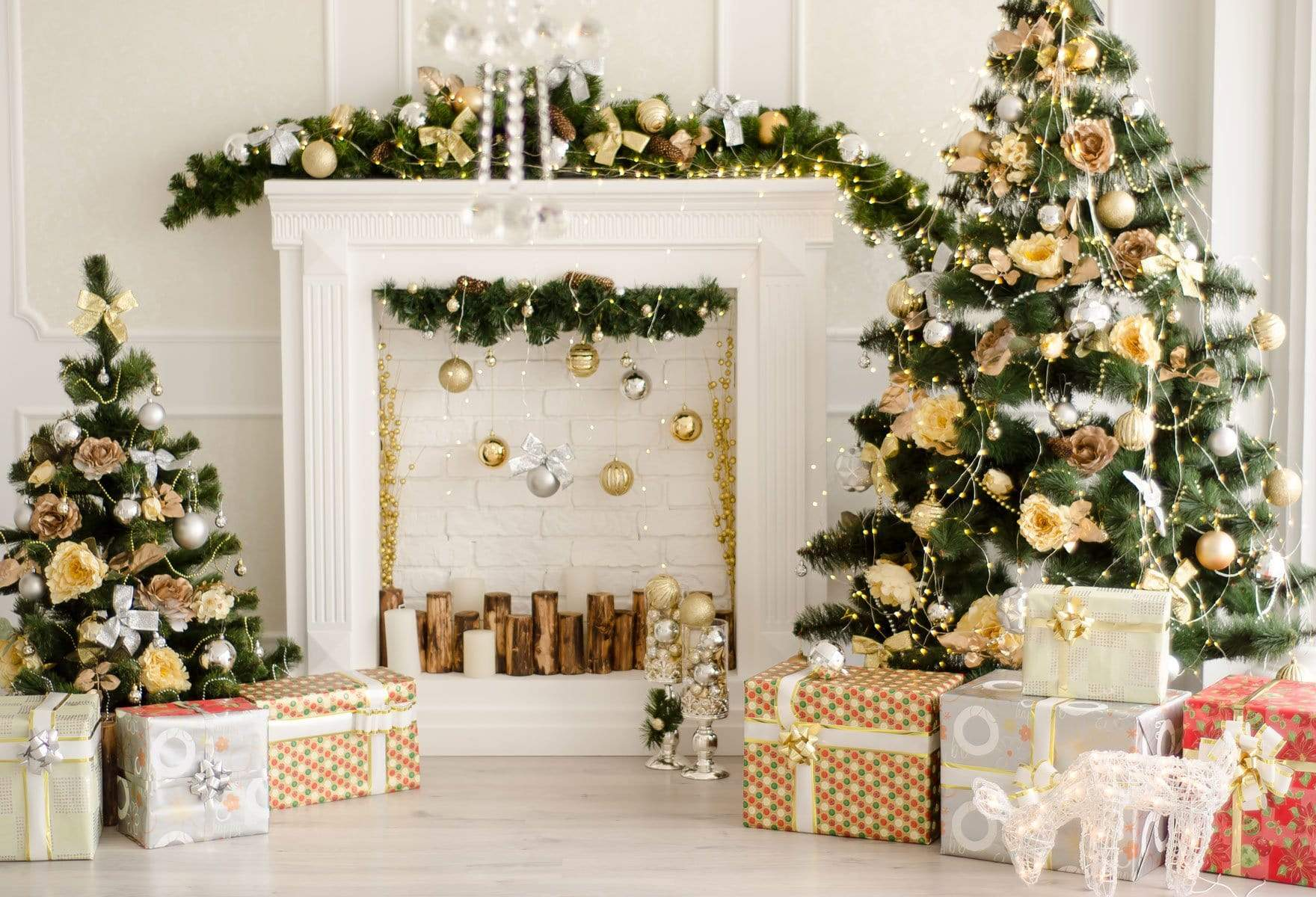 Load image into Gallery viewer, Kate Christmas Decorations Presents Fireplace Backdrop