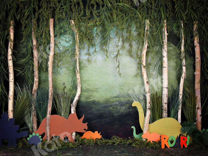 Kate Rainforest Trunk Wonderland with Dinosaur Backdrop