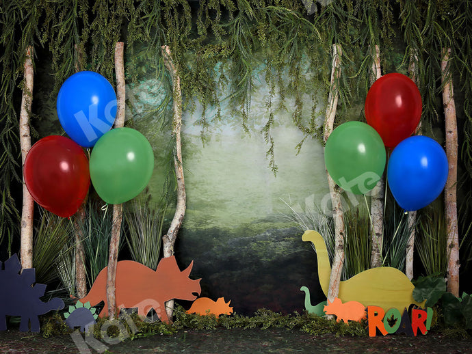 Kate Rainforest Wonderland with Dinosaur Balloons Backdrop