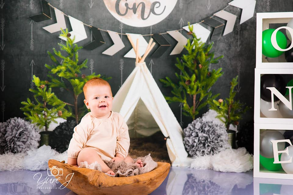 Load image into Gallery viewer, Kate Wild One Boy First Birthday Backdrop Designed By Mandy Ringe Photography