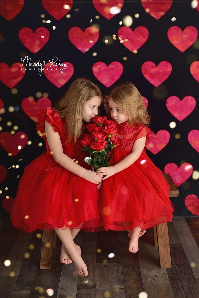Load image into Gallery viewer, Kate Painted Heart Pattern Valentines Backdrop Designed By Mandy Ringe Photography