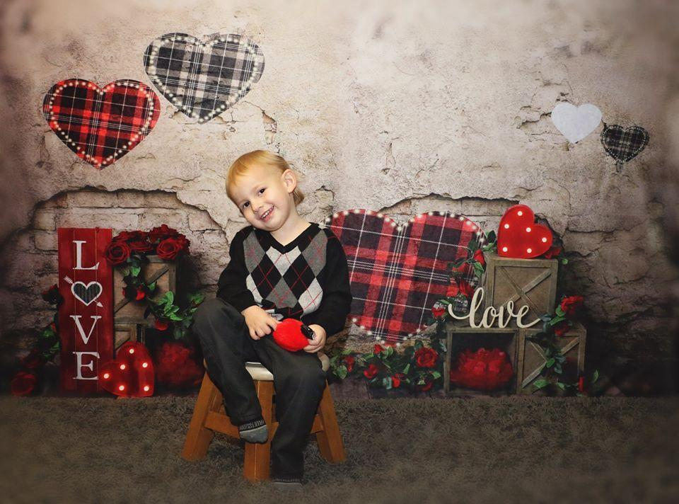 Load image into Gallery viewer, Kate Valentine's Day Brick Wall Backdrop Designed by Megan Leigh Photography