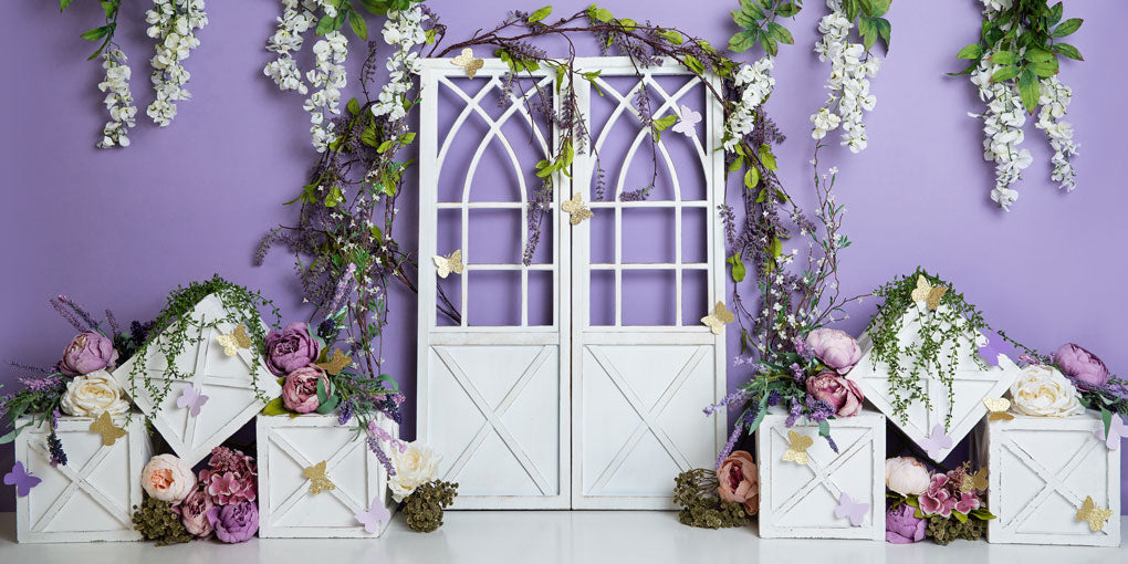 Load image into Gallery viewer, Kate Spring Purple Floral Backdrop Designed by Megan Leigh Photography