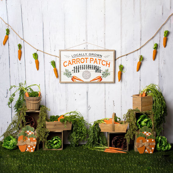 Load image into Gallery viewer, Kate Carrot Patch Easter Backdrop Designed by Megan Leigh Photography