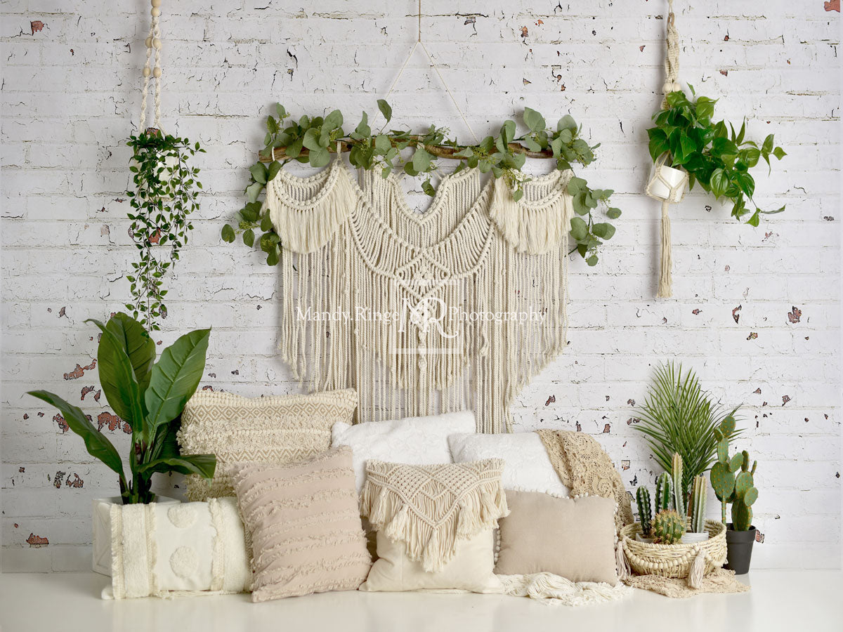 Load image into Gallery viewer, Kate Boho Macrame Floor Pillows with Plants Backdrop Designed By Mandy Ringe Photography