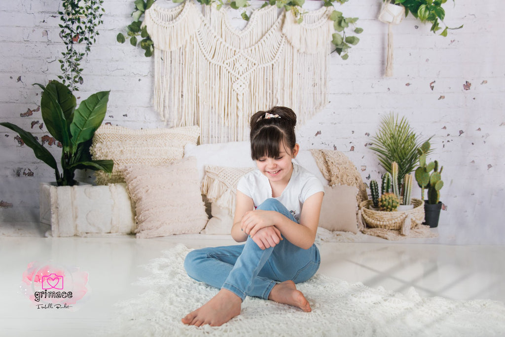 Kate Boho Macrame Floor Pillows with Plants Backdrop Designed By Mandy Ringe Photography