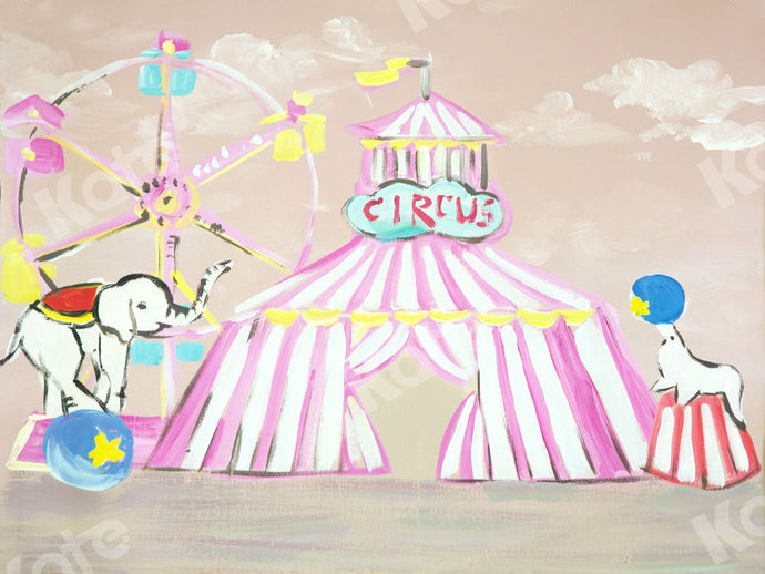 Kate Fine Art Circus Elephant Dolphin Backdrop for Photography