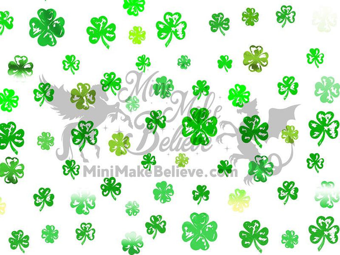 Kate St. Patrick's Day Green Clovers White Backdrop Designed by Mini MakeBelieve