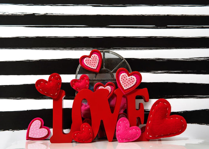 Kate Valentine's Day Love Felt Stitches Stripes Backdrop Designed by Mini MakeBelieve