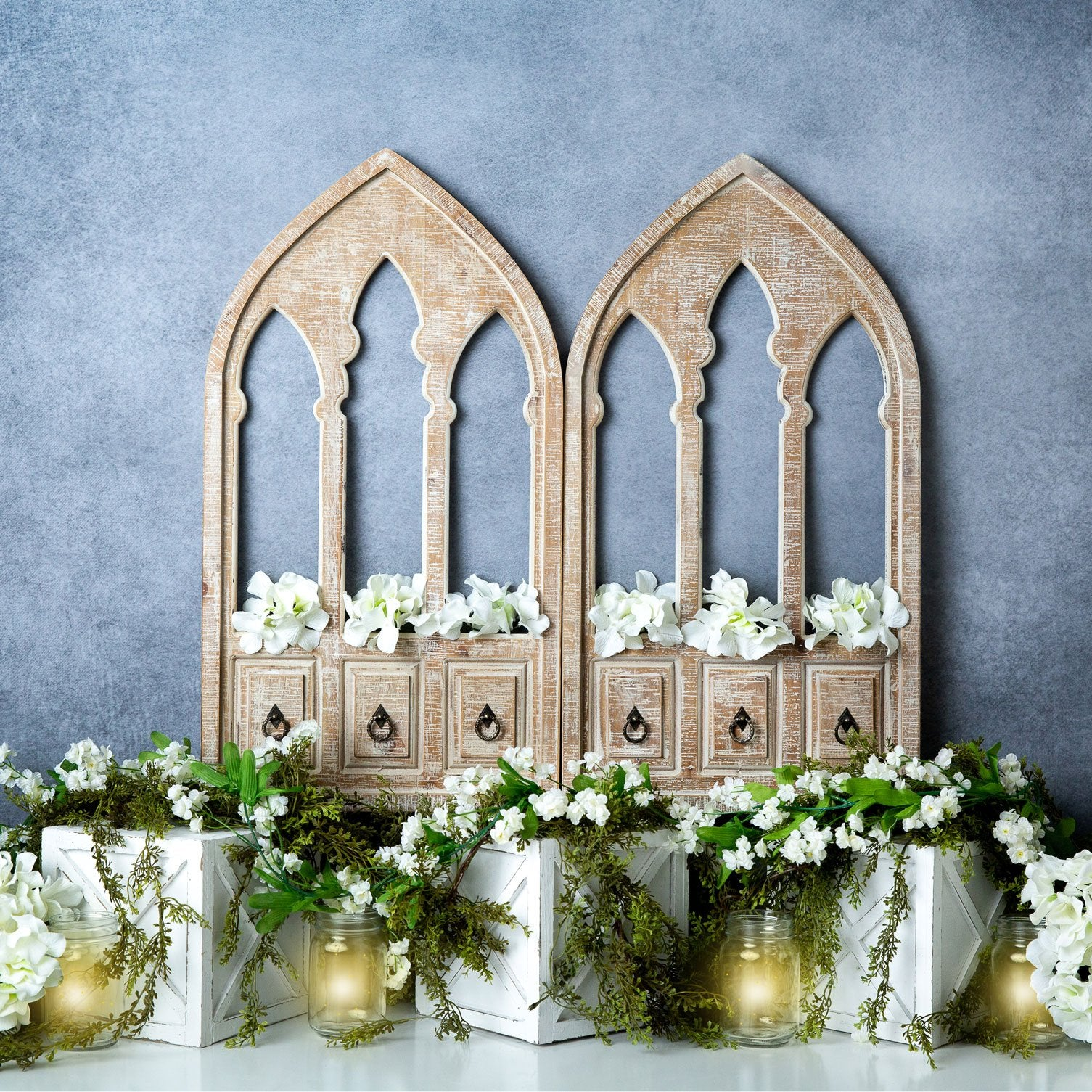Load image into Gallery viewer, Kate Spring White Flowers Door Blue Backdrop Designed By Megan Leigh Photography