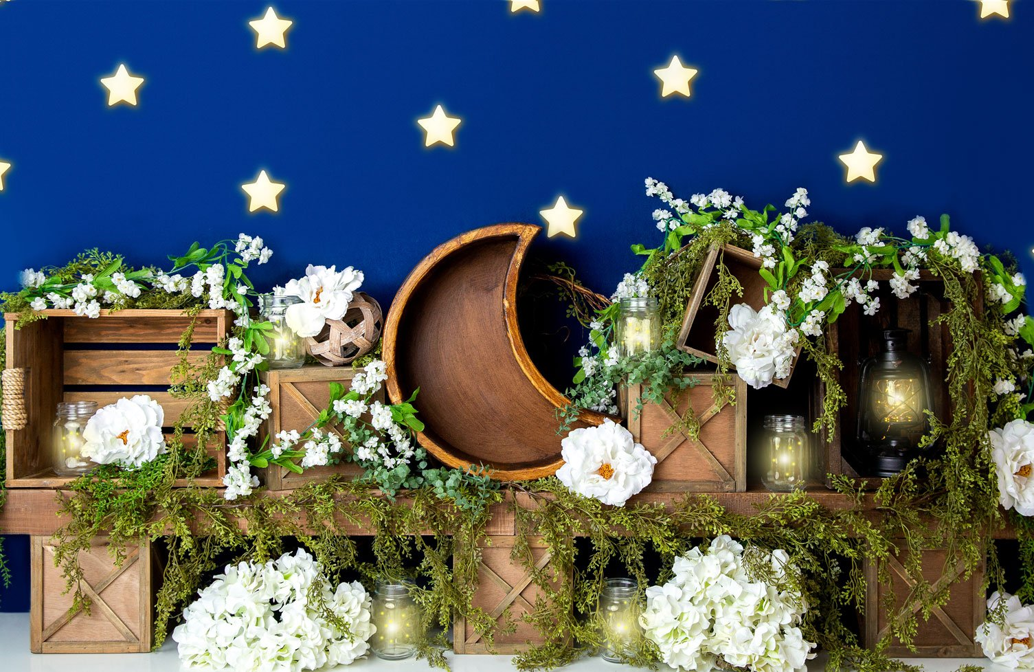 Load image into Gallery viewer, Kate Spring White Flowers Moon Blue Stars Backdrop Designed By Megan Leigh Photography