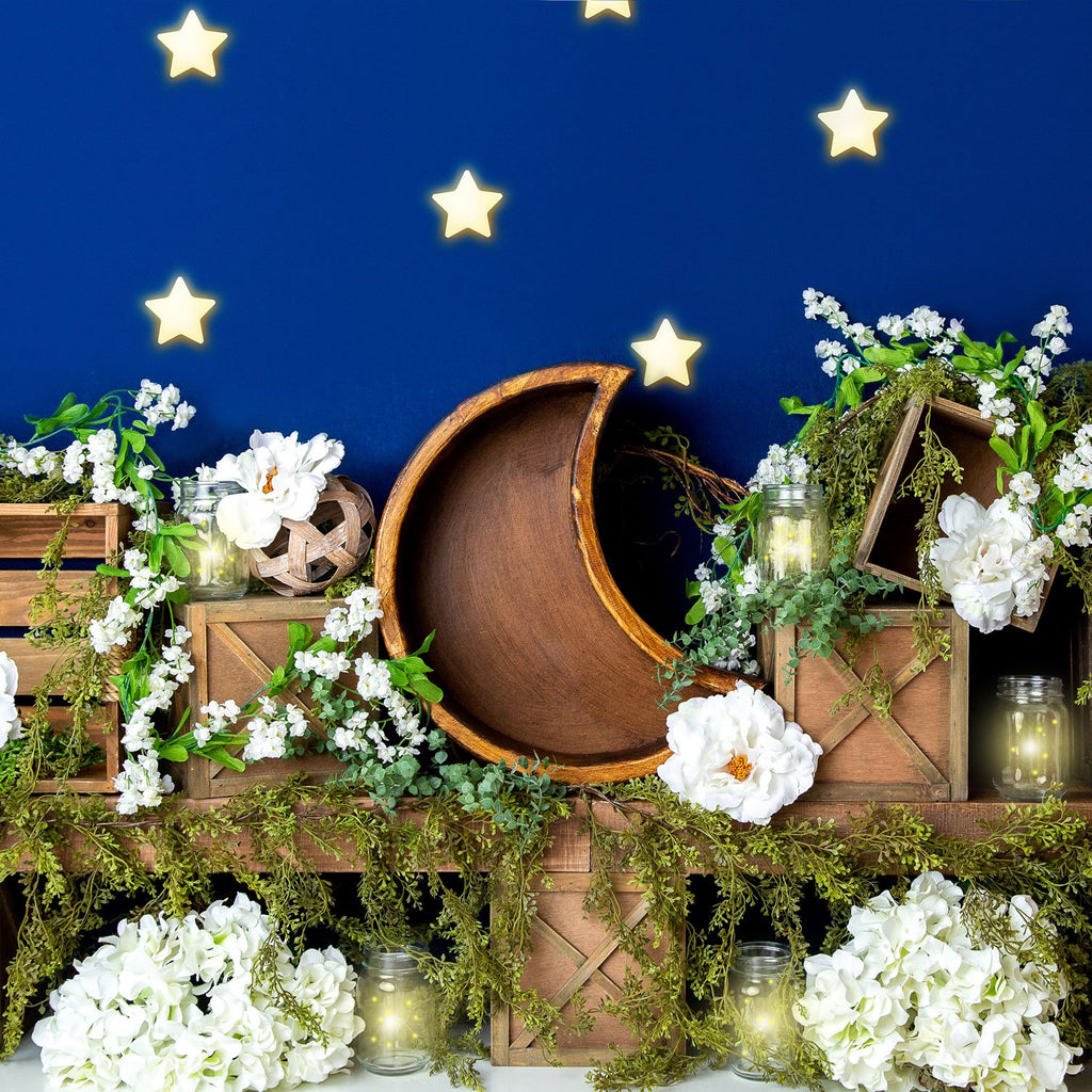 Kate Spring White Flowers Moon Blue Stars Backdrop Designed By Megan Leigh Photography