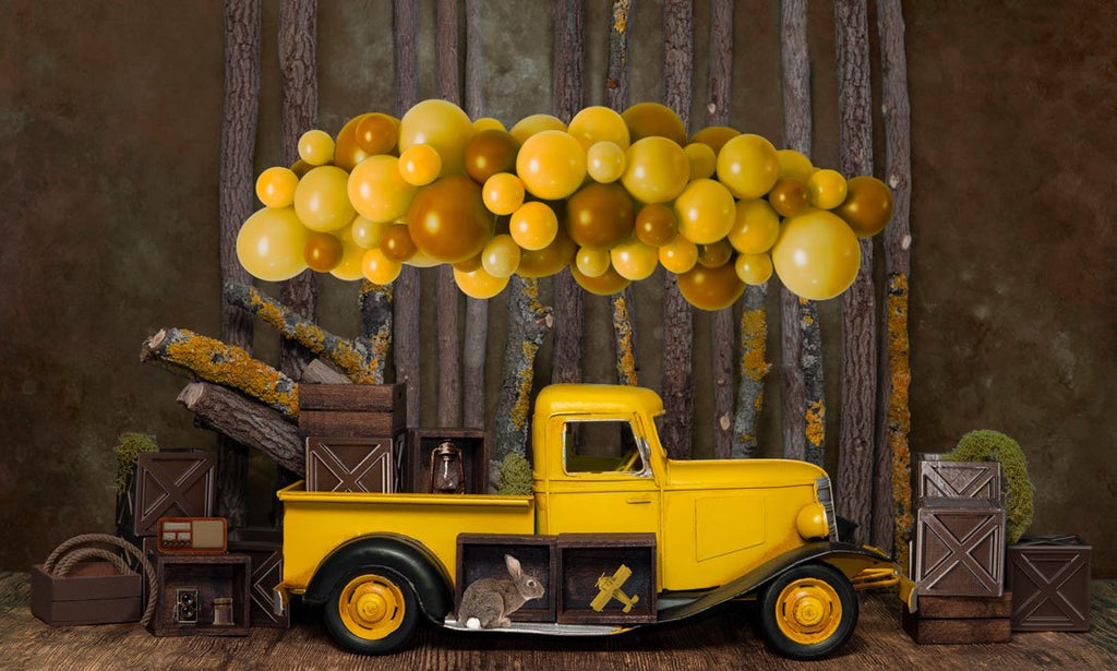 Kate Cake Smash Yellow Balloon Truck Backdrop Designed by Mini MakeBelieve