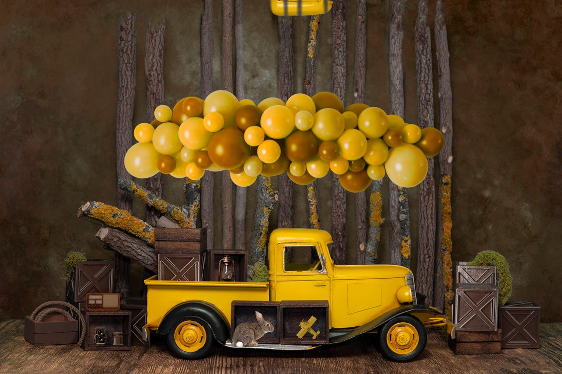 Load image into Gallery viewer, Kate Cake Smash Yellow Balloon Truck Backdrop Designed by Mini MakeBelieve
