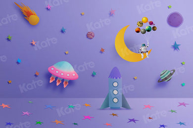 Kate Cake Smash Spaceship Universe Rocket Boy Backdrop for Photography