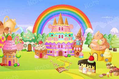 Kate Cake Smash Children Candy House Backdrop for Photography
