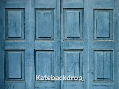 Kate Blue Retro Wood Door Backdrop for Photography