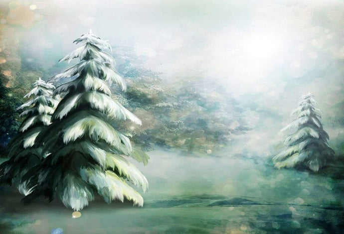 Katebackdrop£ºKate Hand Painting Frozen Pine trees Backdrop Forest Children