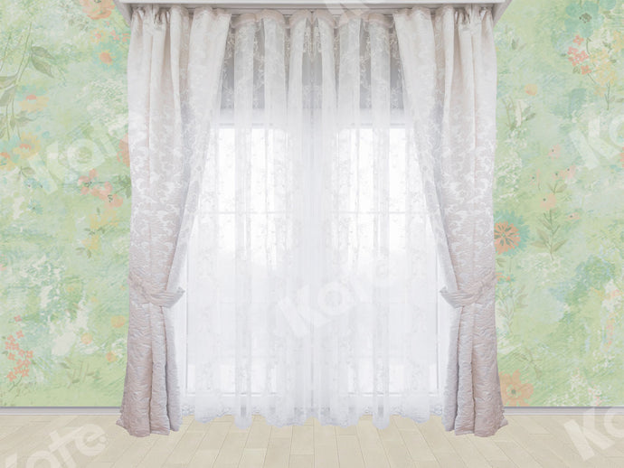 Kate Window Backdrops with Damask Curtain Retro Skin Designed by Ava Lee