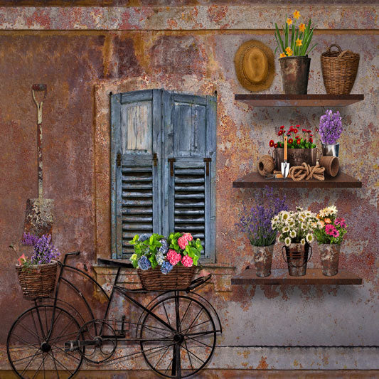 Load image into Gallery viewer, Kate Spring Vintage Rusty Wall with Bicycle and Window Backdrop Designed By Ava Lee