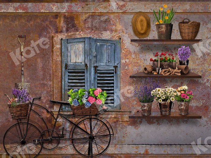 Kate Spring Vintage Rusty Wall with Bicycle and Window Backdrop Designed By Ava Lee