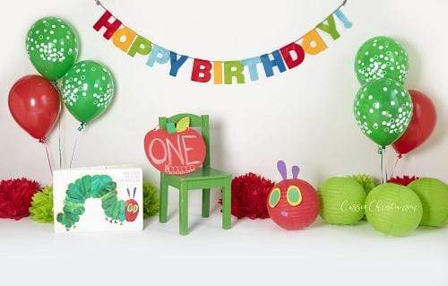 Kate 1st Birthday Caterpillar Backdrop for Children Photography Designed by Cassie Christiansen Photography