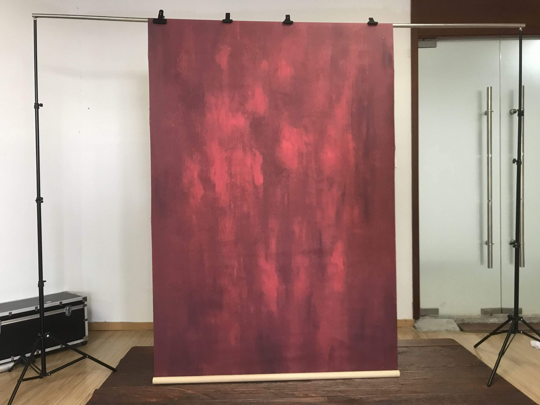 Load image into Gallery viewer, Kate Hand Painted Abstract Texture Red Color Backdrops