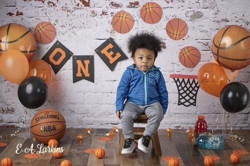 Load image into Gallery viewer, Kate 1st Birthday Basketball Backdrop for Photography Designed By Erin Larkins