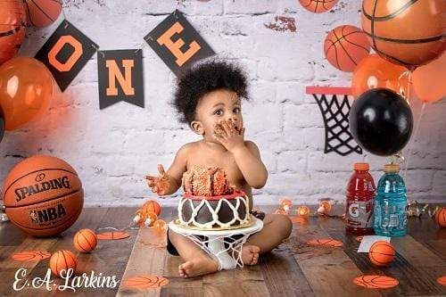 Kate 1st Birthday Basketball Backdrop for Photography Designed By Erin Larkins