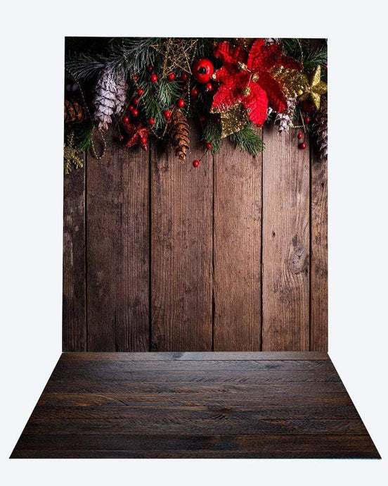 Katebackdrop:Kate Christmas dark wood backdrop + wood floor mat