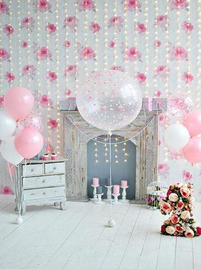 Katebackdrop£ºKate Photography Backdrop Lights Wall Balloons Babies Birthday Backgrounds For Photgraphy