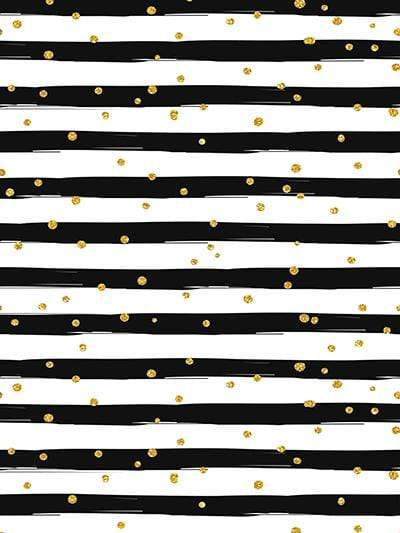 Kate Black and White Stripe with Golden Dots  Backdrop Birthday/Event