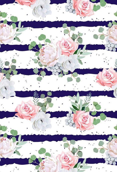 Kate Blue And White Striped Background With Pink And White Flows Fresh Backdrop for Photography
