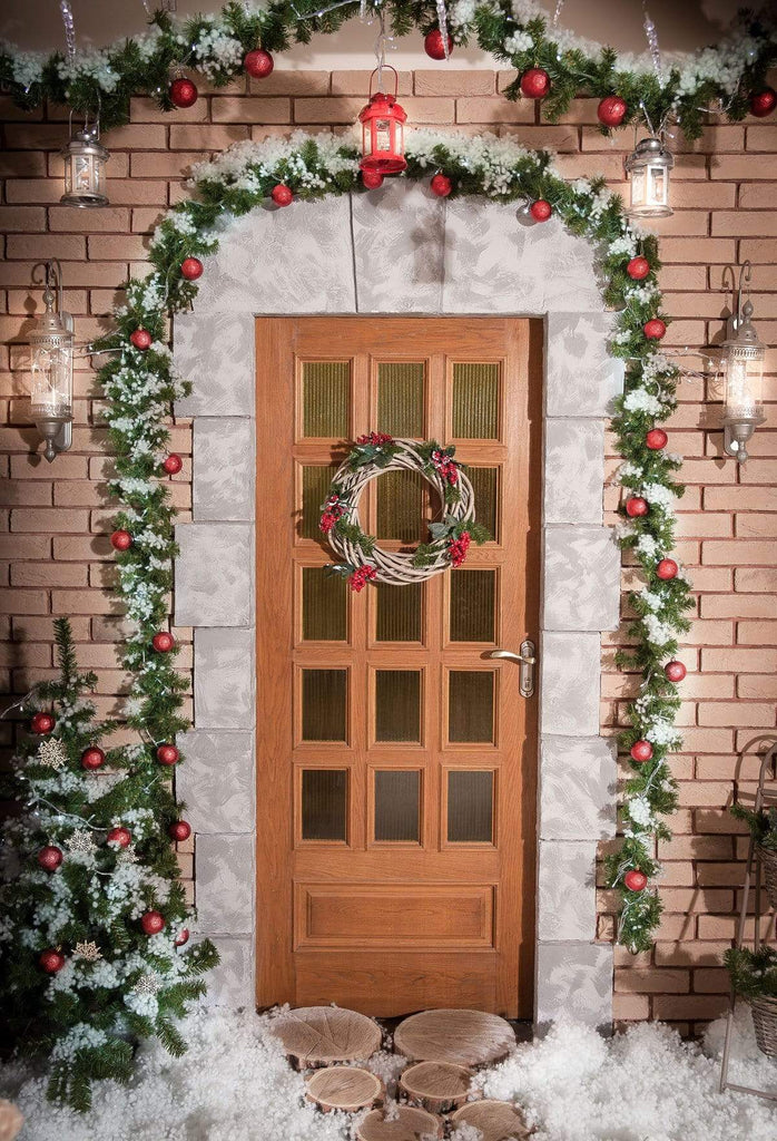 Kate Christmas Holiday Door with Snow Backdrop for Photography