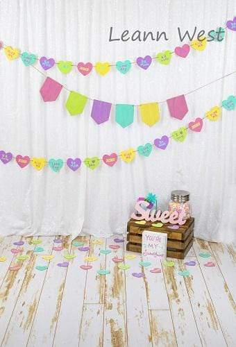 Kate White Curtain with Retro Decoration Colored Banners Valentine's Day Backdrop Designed by Leann West