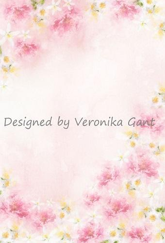 Kate Fine Art Watercolors Pink Flowers Backdrop Designed by Veronika Gant