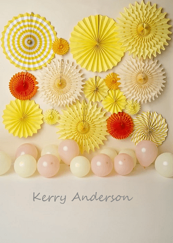 Kate Yellow Paper Flower Balloon Children Backdrop Designed by Kerry Anderson