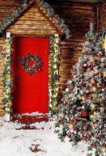 Load image into Gallery viewer, Kate Christmas Trees Red Door Backdrops for Photography