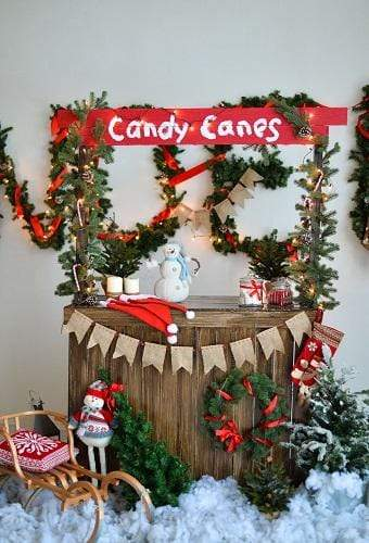 Kate Christmas Candy Canes Children Backdrop for Photography