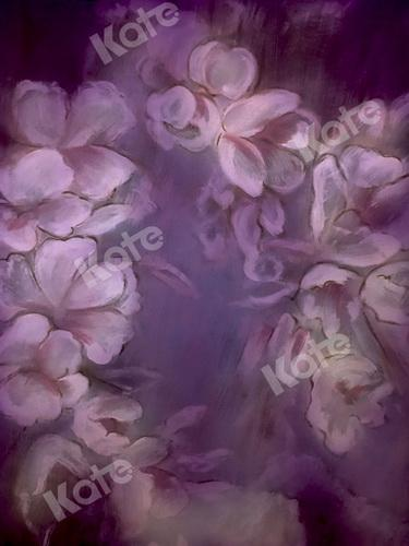 Load image into Gallery viewer, Kate Fine Art Purple Painting Flowers Backdrop for Photography