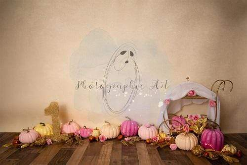Kate 1st Birthday Pink and Gold Pumpkins Backdrop Designed by Jenna Onyia