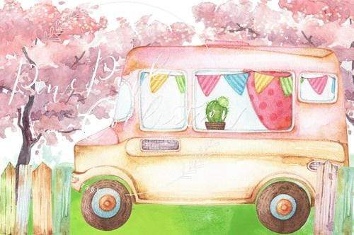 Kate Ice Cream Truck Watercolor Children Backdrop Designed By Pine Park Collection
