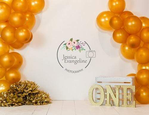 Kate Birthday Cake Smash with Gold Balloons Children Backdrop for Photography Designed By Jessica Evangeline photography