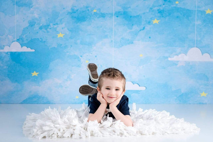 Kate Blue Sky and Clouds Children Backdrop for Photography Designed by Amanda Moffatt