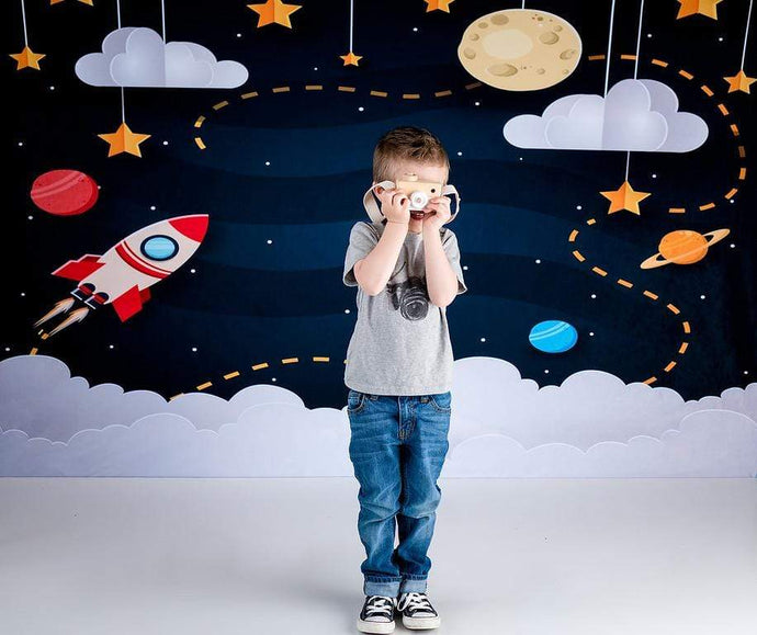 Kate Space with Stars Moons Rocket Children Backdrop for Photography Designed by Amanda Moffatt